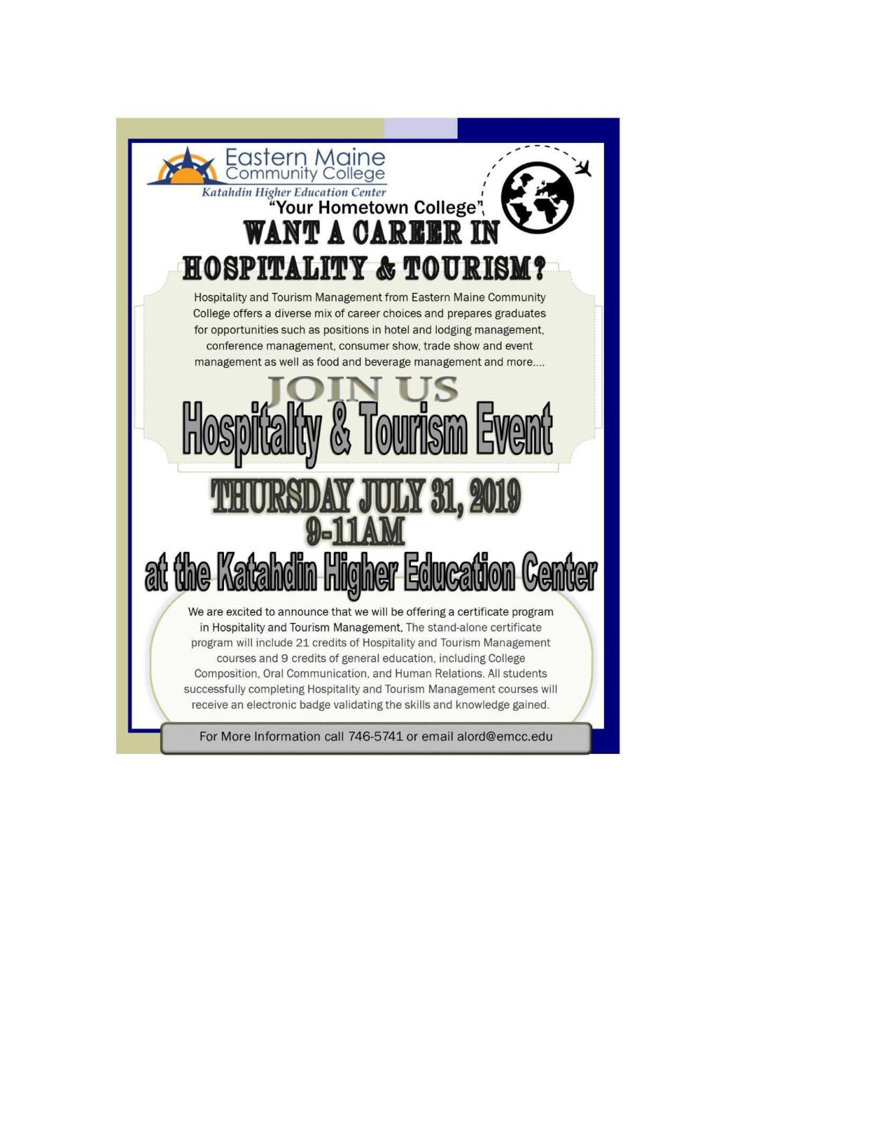 Want a Career in Hospitality and Tourism? – Katahdin Chamber