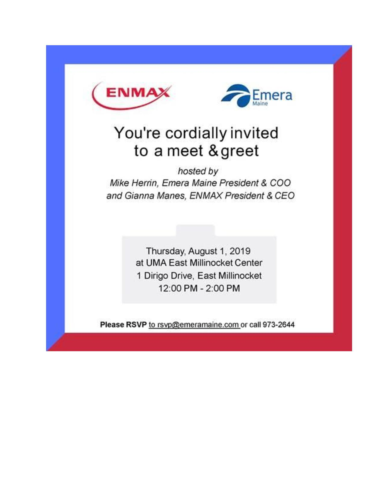 Meet and Greet with Emera Maine Thursday, August 1